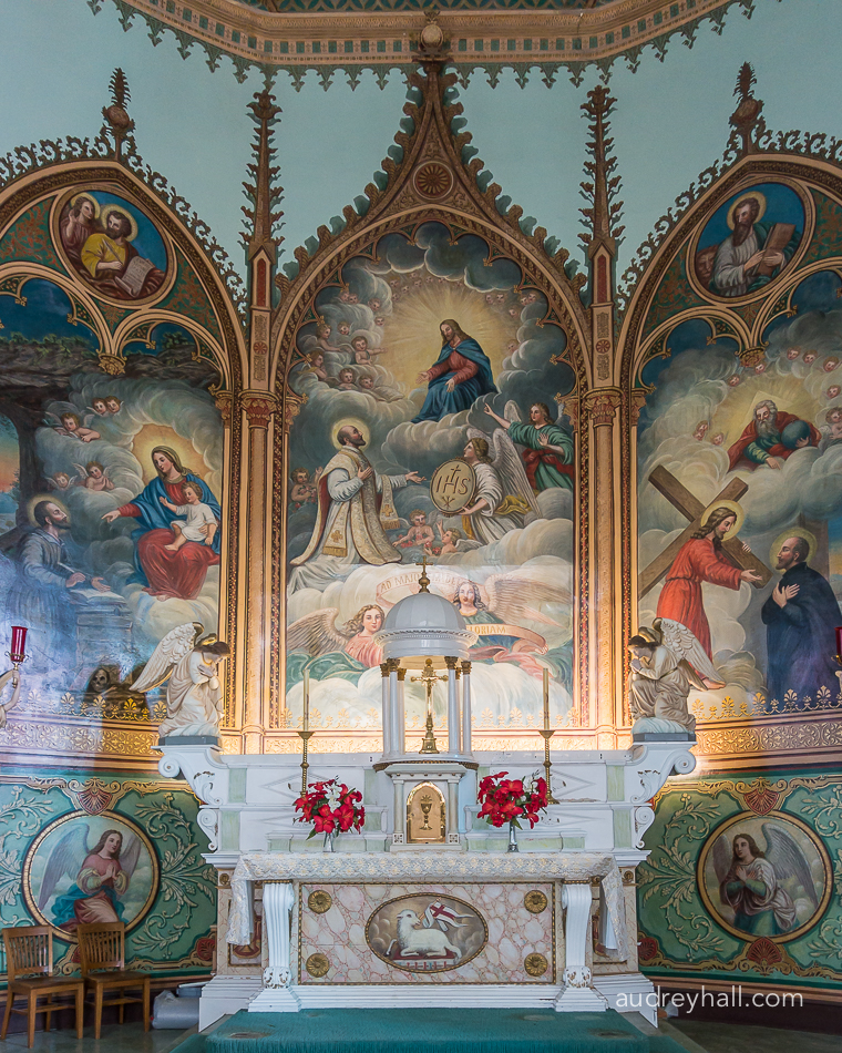 Moving closer to the main mural and altar.